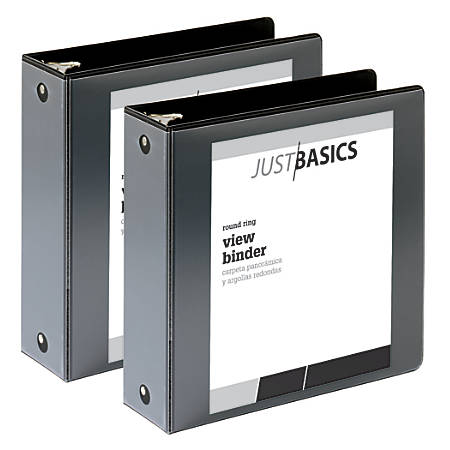 """Just Basics Economy Round-Ring View Binders, 3"""" Rings, 61% Recycled, Black, Pack Of 2 Binders"""