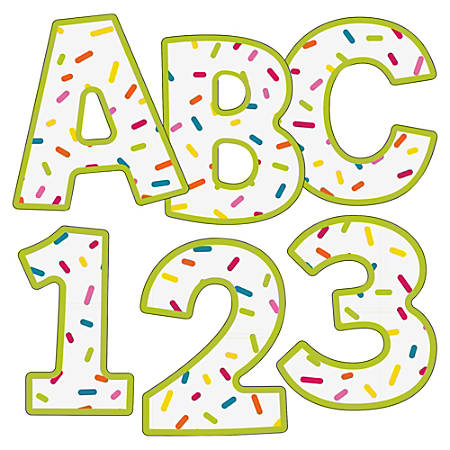 """Carson-Dellosa School Pop 4"""" EZ Letters - Learning, Fun Theme/Subject - 52, 10, 14 (Letter, Number, Punctuation Marks) Shape - Sprinkle Pattern - Pre-punched - 4.25"""" Width x 5.50"""" Length - Multicolor - 76 / Pack"""