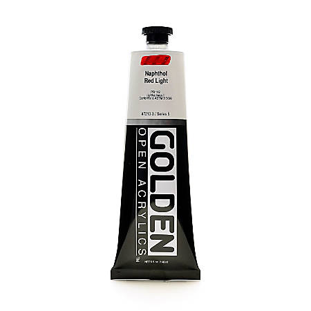 Golden OPEN Acrylic Paint, 5 Oz Tube, Naphthol Red Light