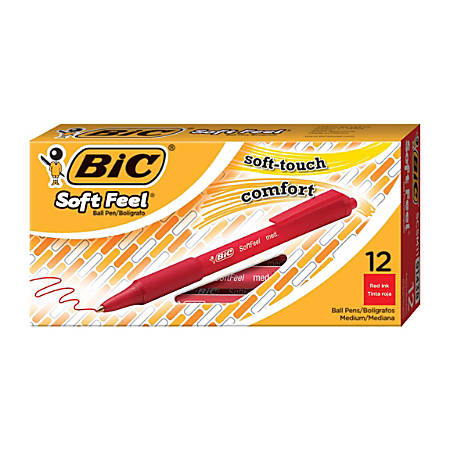 BIC® Soft Feel® Retractable Ballpoint Pens, Medium Point, 1.0 mm, Red Barrel, Red Ink, Box Of 12 Pens