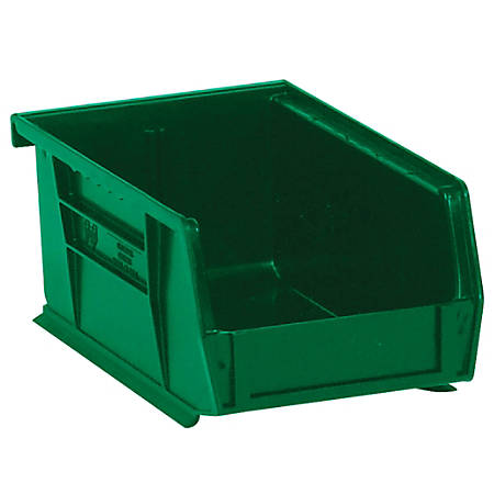 "Office Depot® Brand Plastic Stack And Hang Bin Boxes, 9 1/4"" x 6"" x 5"", Green, Pack Of 12"