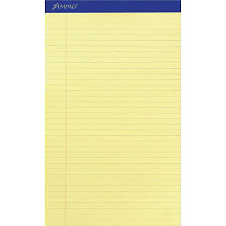 """Ampad Perforated Ruled Pads - Legal - 50 Sheets - Stapled - 0.34"""" Ruled - 15 lb Basis Weight - 8 1/2"""" x 14"""" - Canary Yellow Paper - Dark Blue Binder - Perforated, Sturdy Back, Chipboard Backing, Tear Resistant - 12 / Dozen"""
