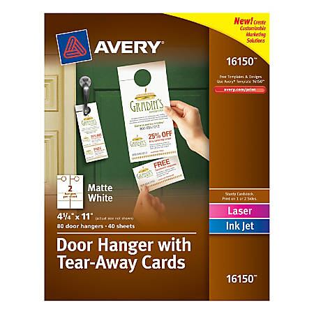 Avery® Door Hangers With Tear-Away Cards, 2 Cards Per Sheet, Pack Of 40 Hangers