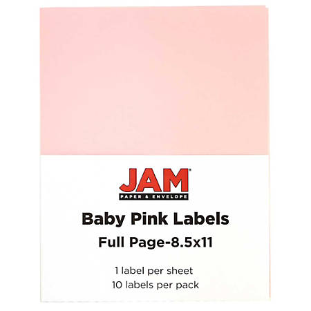 """JAM Paper® Full-Page Mailing And Shipping Labels, 337628615, 8 1/2"""" x 11"""", Baby Pink, Pack Of 10"""