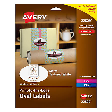 "Avery® Easy Peel® Print-To-The-Edge Permanent Inkjet/Laser Oval Labels, 22829, 2"" x 3 1/3"", White, Pack Of 80"