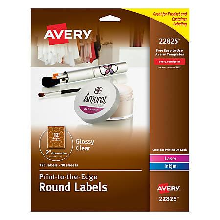 "Avery® Easy Peel® TrueBlock® Print-To-The-Edge Inkjet/Laser Labels, Round, 22825, 2"" Diameter, Glossy Clear, Pack Of 120"