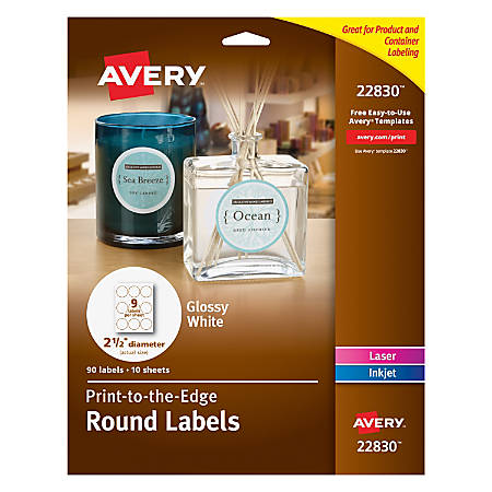 avery easy peel trueblock print to the edge inkjetlaser labels round