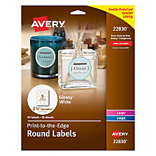 Avery Easy Peel Permanent InkjetLaser Round