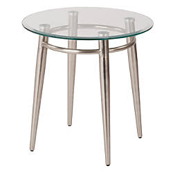 Ave Six Brooklyn Glass Top Table With Metal Frame Round Coffee Table