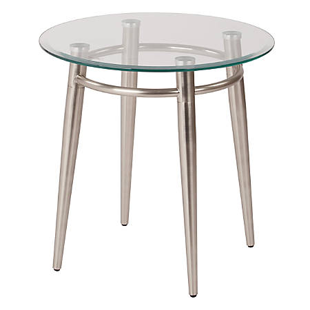 """Ave Six Brooklyn Glass-Top Table With Metal Frame, Round Coffee Table, 20""""H, Clear/Brushed Nickel"""