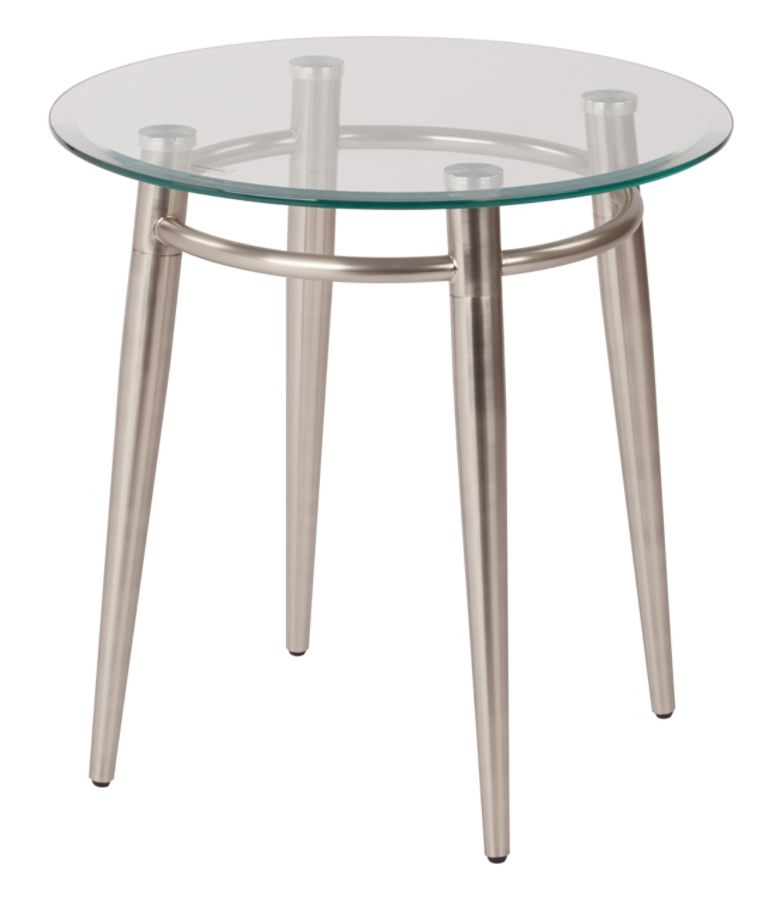 Ave Six Brooklyn Glass Top Table With Metal Frame Round Coffee Table 20 H  ClearBrushed Nickel By Office Depot U0026 OfficeMax