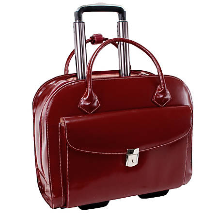 "McKleinUSA Granville Leather Wheeled Ladies' Briefcase For 15.4"" Laptops, Red"