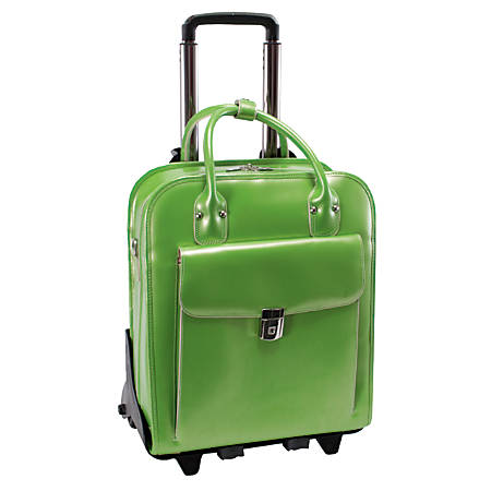 "McKleinUSA La Grange Leather Vertical Detachable-Wheeled Ladies' Briefcase For 15.4"" Laptops, Green"