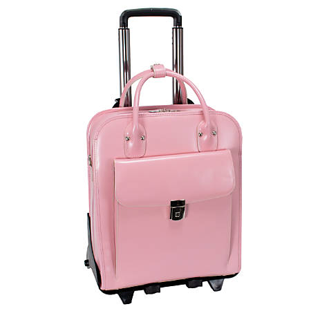 "McKleinUSA La Grange Leather Vertical Detachable-Wheeled Ladies' Briefcase For 15.4"" Laptops, Pink"