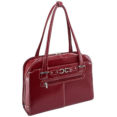 """McKleinUSA Oak Grove Fly-Through Leather Checkpoint Friendly Ladies' Briefcase For 15.4"""" Laptops, Red"""