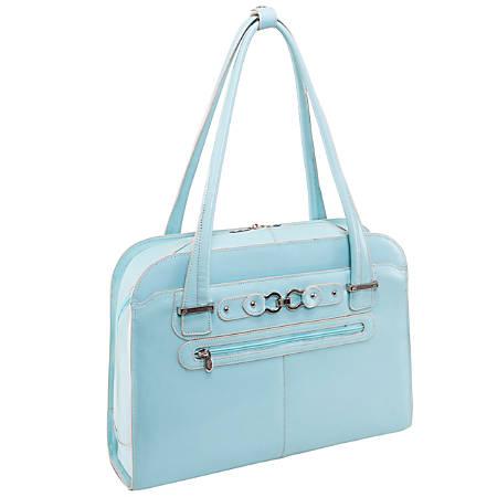 "McKleinUSA Oak Grove Fly-Through Leather Checkpoint Friendly Ladies' Briefcase For 15.4"" Laptops, Aqua Blue"