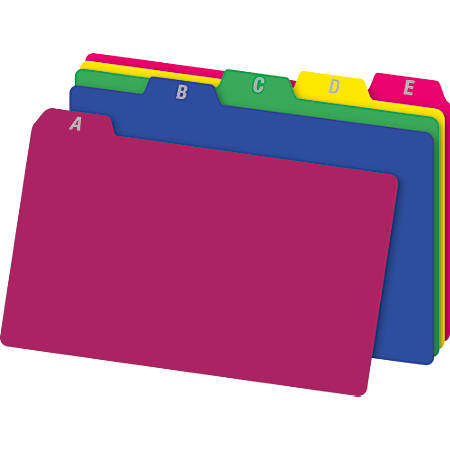 "Office Depot® Brand A-Z Index Card Guides, 4"" x 6"", Assorted Colors, Pack Of 25"