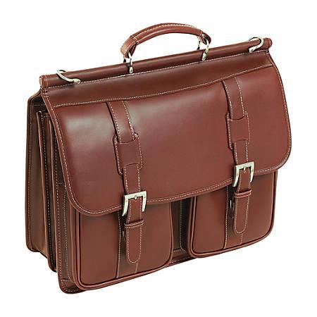 "Siamod Signorini Leather Laptop Case For 15"" Laptops, Cognac"