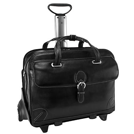 """Siamod Carugetto Leather Laptop Case For 17"""" Laptops, Black"""