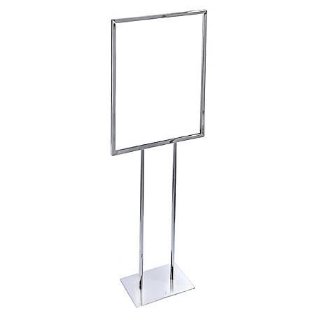 Azar Displays Single-Panel Narrow Floor Easel, Steel, Silver