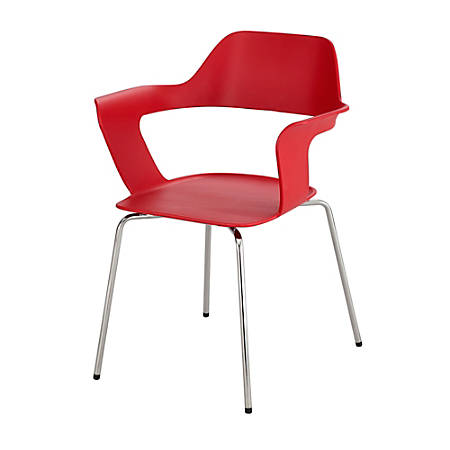 Safco® Bandi™ Shell Stacking Chairs, Red/Silver, Set Of 2