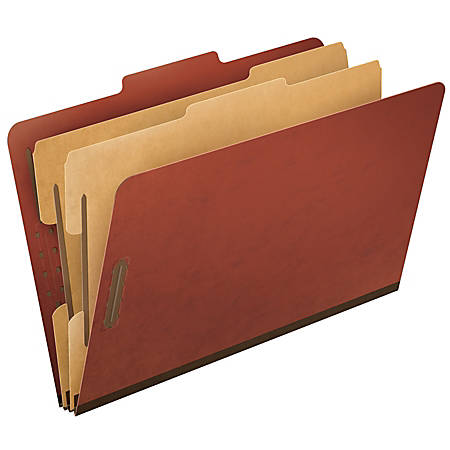 Pendaflex® Pressboard Classification Folder, 2 Dividers, 6 Partitions, 2/5 Cut, 70% Recycled, Legal Size, Red, Box Of 10