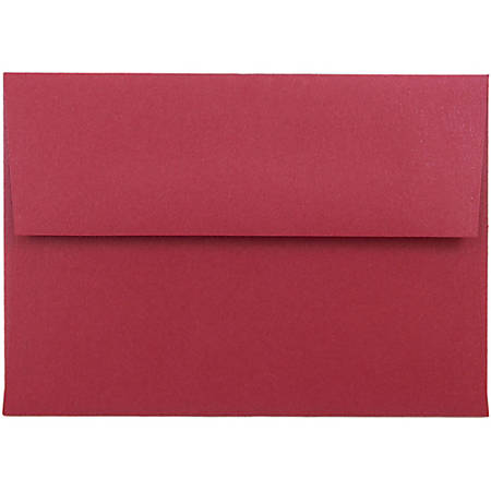 """JAM Paper® Envelopes With Gummed Closure, #4 Bar (A1), 3 5/8"""" x 5 1/8"""", Red Metallic, Pack Of 25"""