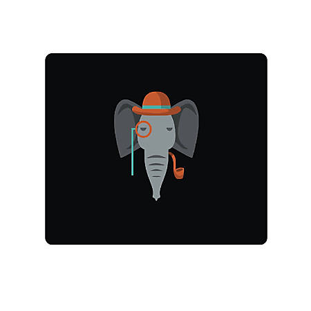 "OTM Essentials Mouse Pad, Elephant, 10"" x 9.13"", Black, V1BM-CRIT-05"