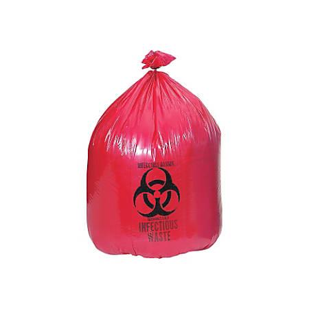 Medline High-Density Biohazard Liners, 45 Gallon, Red, Case Of 250