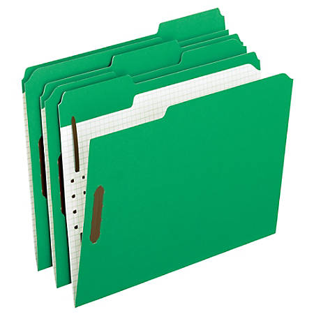 Oxford® Interior Grid Folders With Fasteners, Letter Size, Green, Box Of 50
