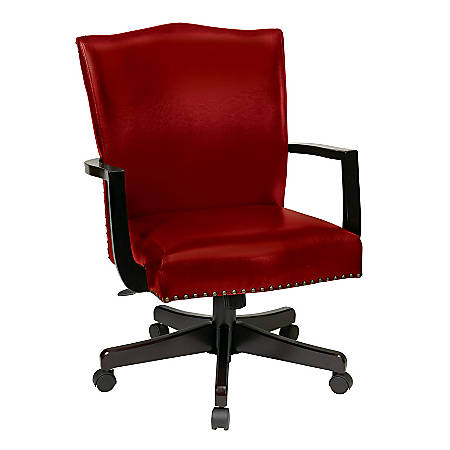 INSPIRED by Bassett Morgan Leather High-Back Manager's Chair, Crimson/Dark Espresso