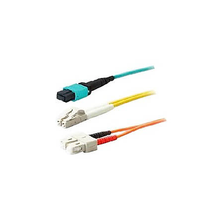 AddOn 50m MPO (Female) to MPO (Female) 24-strand Aqua OM3 Crossover Fiber OFNR (Riser-Rated) Patch Cable