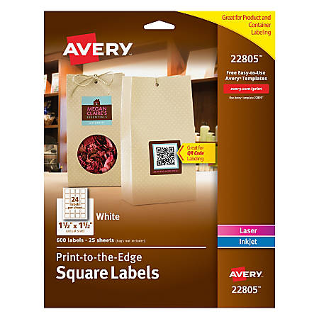 "Avery® Easy Peel® TrueBlock® Print-To-The-Edge Inkjet/Laser Labels, Square, 22805, 1 1/2"" x 1 1/2"", Matte White, Pack Of 600"