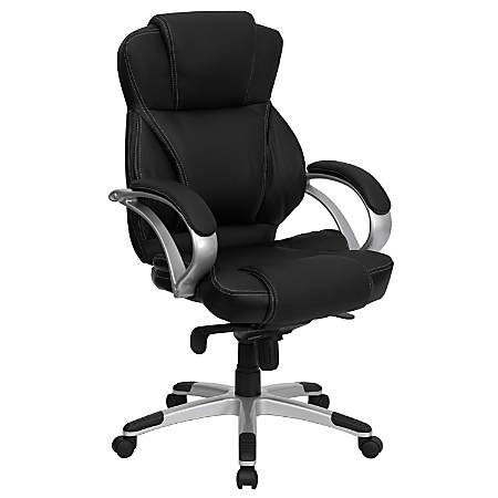 Flash Furniture Contemporary Leather High-Back Swivel Chair, Black/Silver