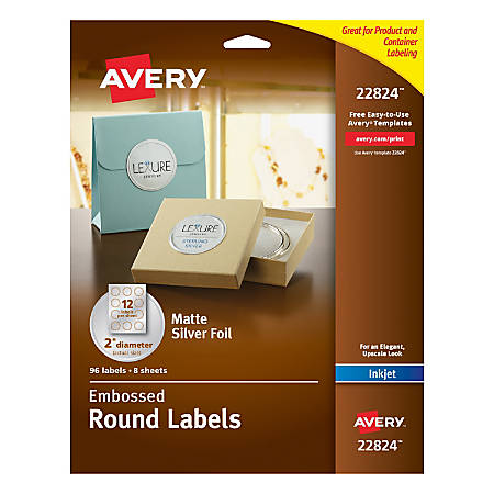avery easy peel emobossed labels 22824 2 diameter silver With avery large round labels