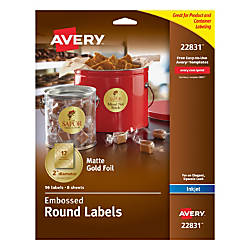 Avery Easy Peel Emobossed Labels 22831