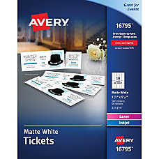 Avery Tear Away Stubs Matte Printable