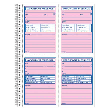 "Adams® Phone Message Book, 11"" x 8 1/4"", 100 Pages, White/Canary Yellow"
