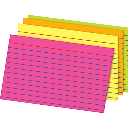 """Office Depot® Brand Glow Index Cards, 4"""" x 6"""", Assorted Colors, Pack Of 100"""