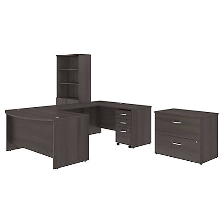 """Bush Business Furniture Studio C 60""""W x 36""""D U Shaped Desk with Bookcase and File Cabinets, Storm Gray, Standard Delivery"""