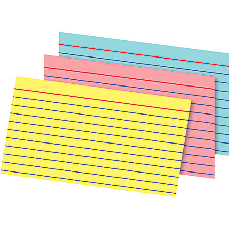 "Office Depot® Brand Index Cards And Tray Set, 3"" x 5"", Assorted Colors, Pack Of 180 Cards"