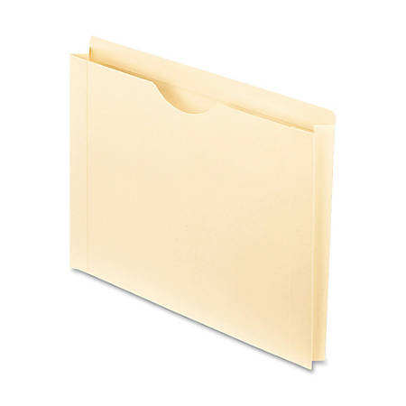 """Oxford® Reinforced-Top File Jackets, Letter Size, 1 1/2"""" Expansion, Manila, Box Of 50"""