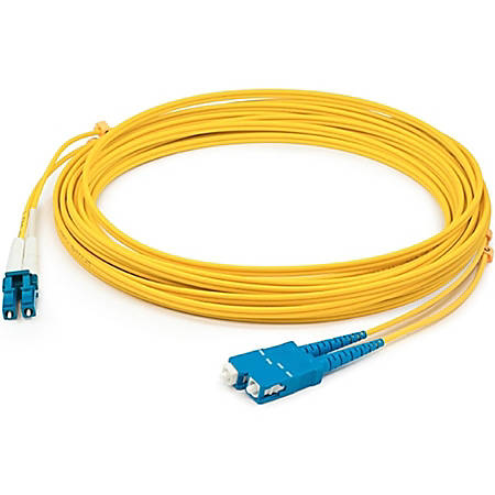 AddOn 9m LC (Male) to SC (Male) Yellow OS1 Duplex Fiber OFNR (Riser-Rated) Patch Cable