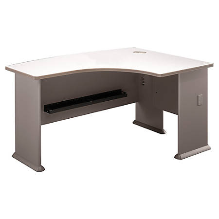 "Bush Business Furniture Office Advantage L Bow Desk Right Handed, 60""W x 44""D, Pewter/White Spectrum, Premium Installation"