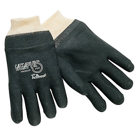 Memphis Glove Premium Double-Dipped PVC Gloves, One Size, Black, Pack of 12 Pairs