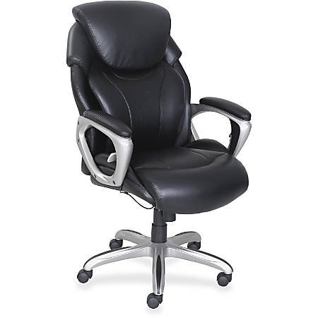 Lorell® Wellness by Design Air Tech Executive Bonded Leather Chair, Black