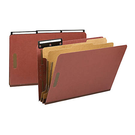 """Smead® 1/3-Cut Metal Tab Classification Folders, Legal Size, 2"""" Expansion, 60% Recycled, Red, Box Of 10"""
