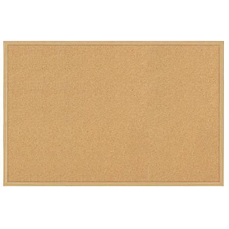 """FORAY™ Cork Board, 18"""" x 24"""", Tan Cork, Light Oak Frame"""
