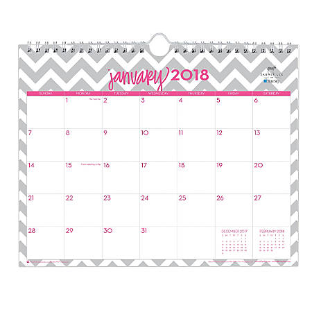 """Dabney Lee for Blue Sky™ Ollie Monthly Wall Calendar, 11"""" x 8 3/4"""", 50% Recycled, Gray, January to December 2018 (102141)"""