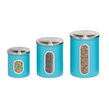 Honey-Can-Do 3-Piece Metal Storage Canister Set, 0.8 - 1.9 Qt, Blue/Stainless Steel